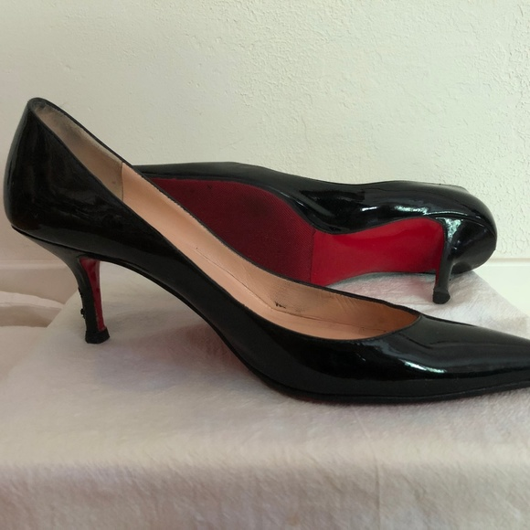6a950d8cddcf Christian Louboutin Shoes - Christian Louboutin Black Patent Kitten Heels  37.5